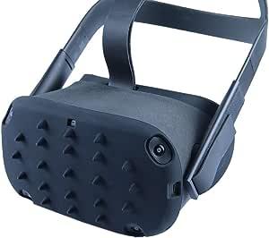 Esimen VR Protection Skin Case for Oculus Quest Skin Shell Cap Mask Pad Premium Silicone Sweat Guard Accessories Anti-Throw Sweatproof Lightproof (Cap Black)