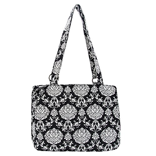 Waverly Triple Entry Satchel (Quilted Black/White Paisley) (Handbag Shoulder Bag Quilted Cotton)