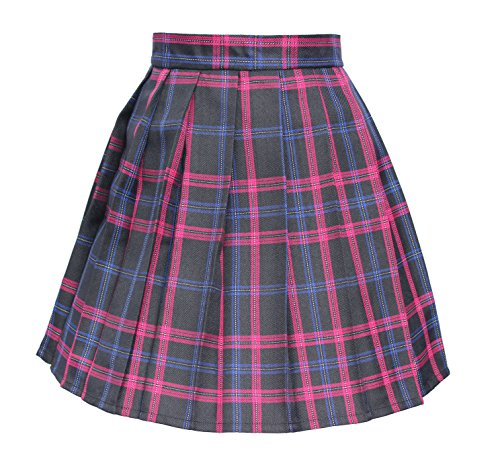 (Women`s Plaid A line Mini Skirts Cosplay Fancy up Costumes (2XL,Black Mixed Carmine)