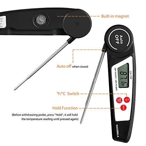 Kacebela Instant Read Thermometer, Auto-Off Digital Meat Food BBQ Thermometer with Collapsible Internal Probe, Best for Barbecue, Grilling, Oven, Cooking, Candy, Steak, Milk, Bathing Water