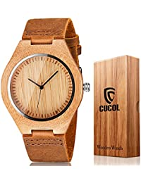 Men's Bamboo Wooden Watch with Brown Cowhide Leather...