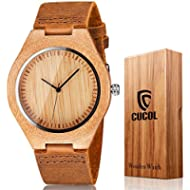 CUCOL Men's Bamboo Wooden Watch with Brown Cowhide Leather Strap Japanese Quartz Movement Casual...