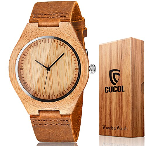 CUCOL Men's Bamboo Wooden Watch with Brown Cowhide Leather Strap Japanese Quartz Movement Casual Watches by CUCOL