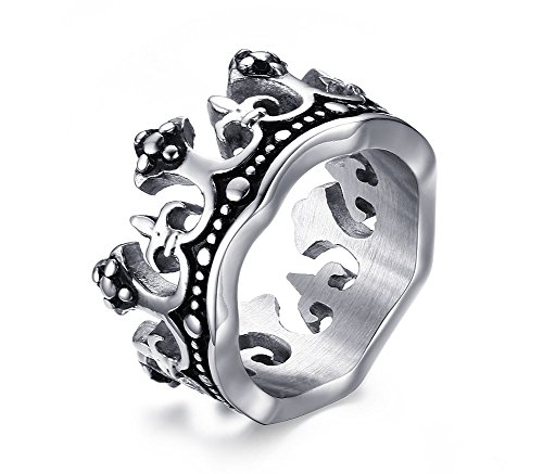 Crown Mens Bands - Mens Stainless Steel Vintage Crown Ring for Wedding Band Promise Engagement Size 10
