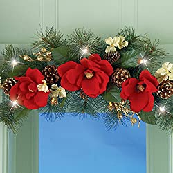 Red Magnolia Flowers Swag Gold Berries Pinecones Holiday Hangs Over Doorway Entrance Window Mirror Decor Door Wall Hanging Christmas Home Accent Decoration