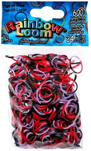 Official Rainbow Loom 600 Ct. Rubber Band Refill Pack Passion Glow {Halloween Glow Series} [Includes 24 (Rubber Band Halloween)
