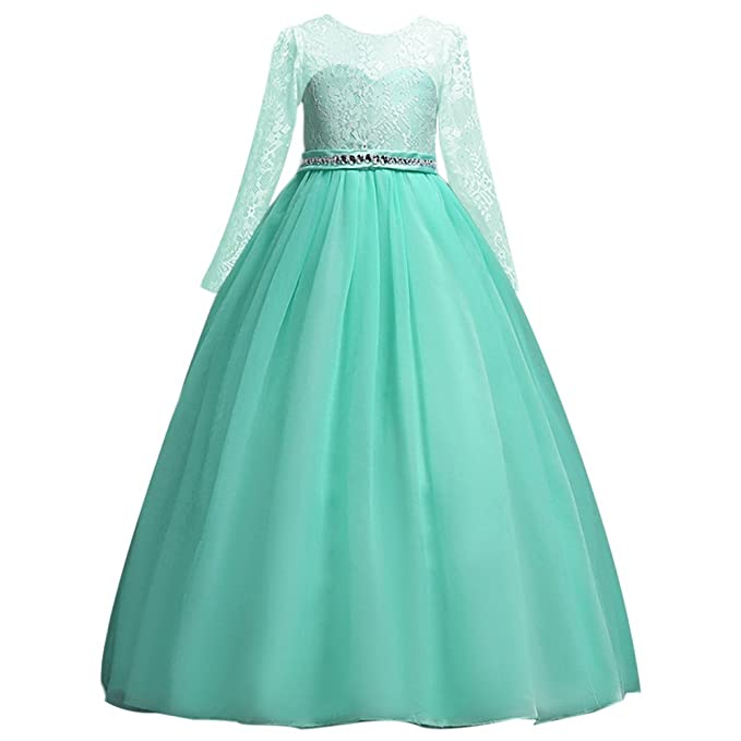 fce6f7f2634 Amazon.com: OwlFay Flower Girls Long Sleeve Lace Pageant Ball Gowns ...