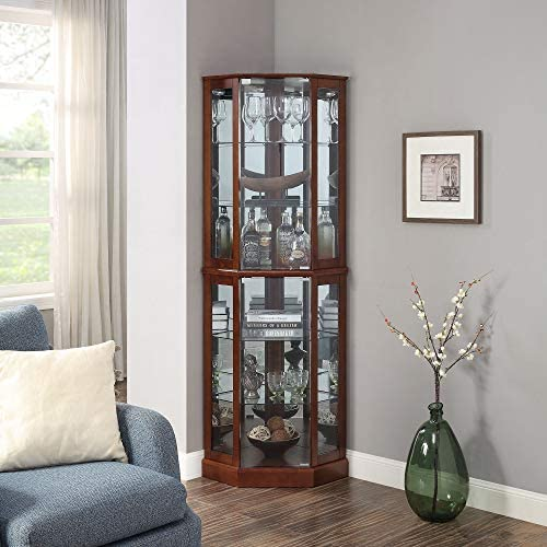 BELLEZE Ashfield Lighted Wood Glass Curio Corner Cabinet Floor Standing