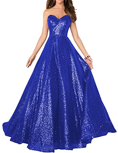 2018 Strapless Sequined Prom Dress Plus Size Womens A Line Empire Waist Sweetheart Neck Formal Evening Gown Floor Length Elegant Costume SHPD41-S Royal Blue Custom Size Beading Sweetheart Neck Floor