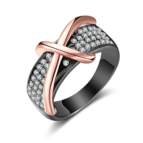 Cross Cocktail Ring (Dnswez Two Tone Rose Gold Cross Statement Band Ring-Black Gun Plated with Crystals(10))