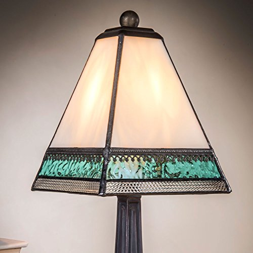 J Devlin Lam 696 TB Tiffany Style Stained Glass Miniature Table Lamp Ivory Aqua Blue and Clear with Filigree Memory (Ivory Stained Glass Table Lamp)