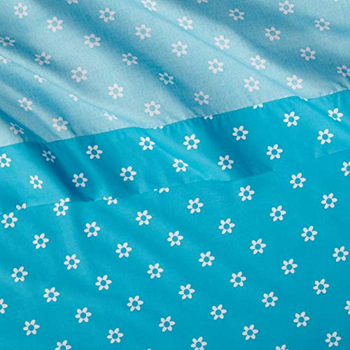 AmazonBasics Kid's Sheet Set - Soft, Easy-Wash Lightweight Microfiber - Twin, Blue Flowers
