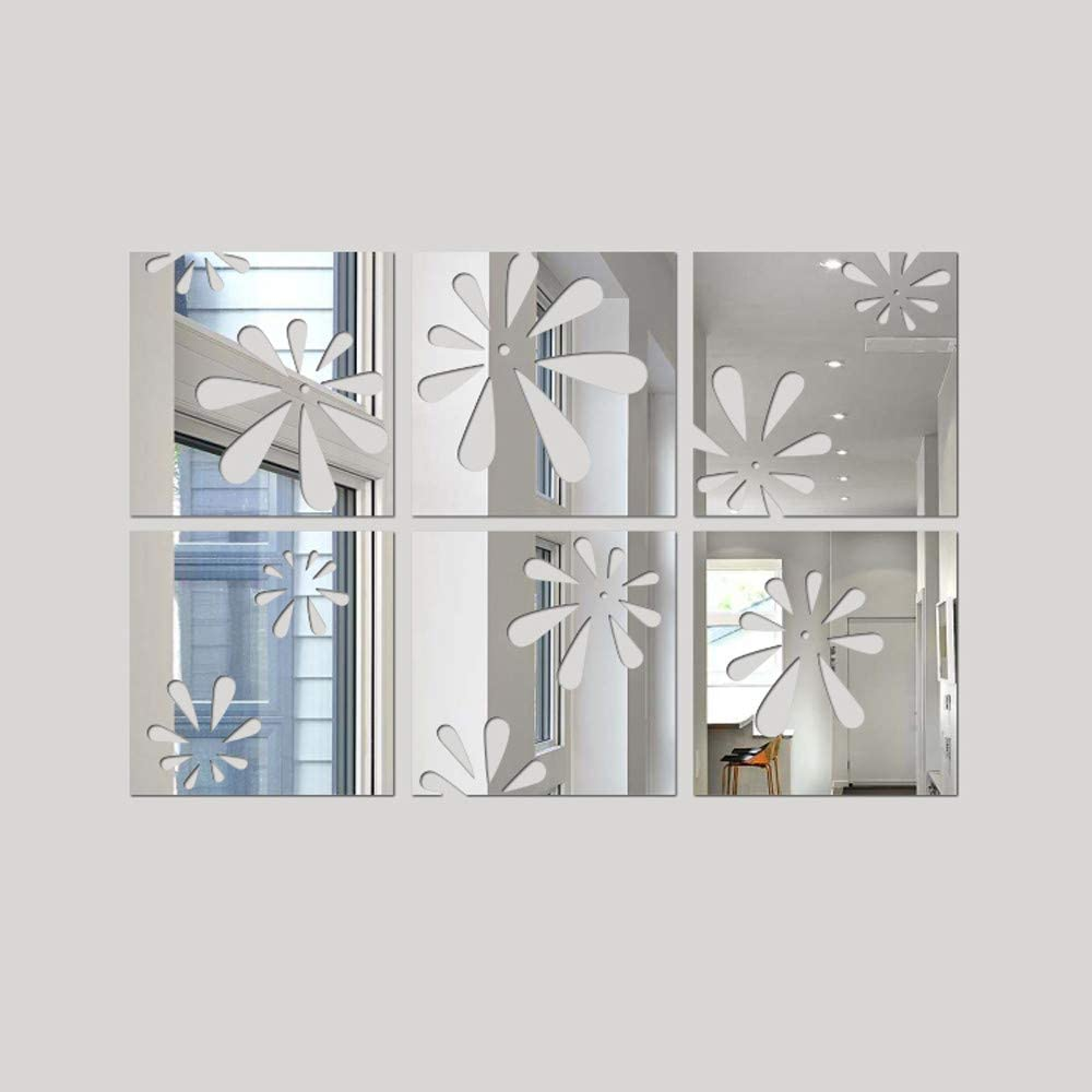 Mirror  Tile Wall Sticker Square Self Adhesive Room Bathroom Decors Stick On Art