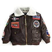 Up and Away Boys' A-2 Bomber Jacket 12 Months Brown
