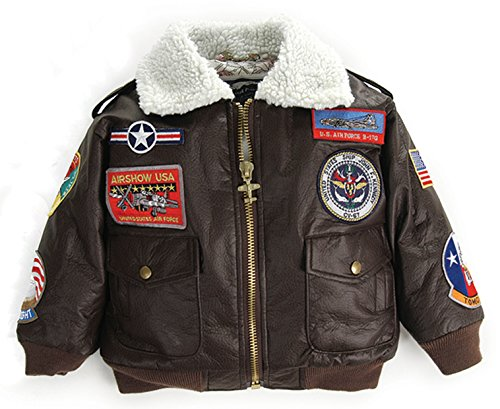 Up and Away Boys' A-2 Bomber Jacket 4/5 Brown (Patch Bomber)