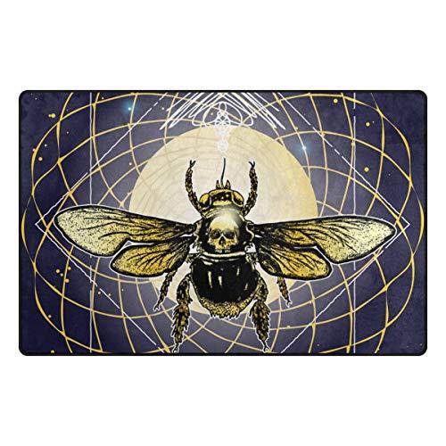 Mystical Garden Area Rug - XINGAKA Non-Slip Area Rugs Bee Mystical Tattoo Hand Drawn Mythology Floor Mat Living Room Bedroom Dinning Kitchen Carpets Doormats