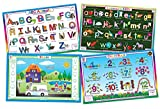 Tot Talk Educational Kids Placemats- Preschool Kindergarten- Set of 4 Table Mats: Uppercase ABCs, Alphabet, Numbers, Shapes- Reversible Activities- Waterproof, Washable, Wipeable, Durable, USA-Made