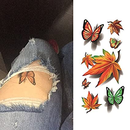 Oottati Tatuajes Temporales 3d Mariposa Maple Leaf 2 Hojas Amazon