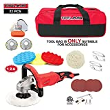 Toolman 22pcs Electric Polisher Sander Paint Care Tool 7' 12A Amps with Hook and Loop Dust Masks Safety Goggle Glasses & Tool Bag works with DeWalt Makita Accessories