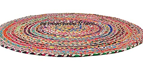 Indian Hand Woven Chindi Cotton Braid Rug - 28 Inch Diameter- Made From Multi Color Recycled Yarns - Cotton Indian Rug