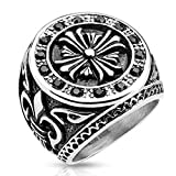 Paula & Fritz Stainless Steel Ring Surgical Steel 316L Biker Ring 27mm Wide Fleur de Lis Black Zikonia - Size = 66 (21.0) - [R-H9833_120]