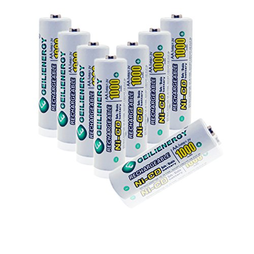 Geilienergy AA NiCd 1000 mAh 1.2 V Rechargeable Batteries For Solar light (Pack of 8)