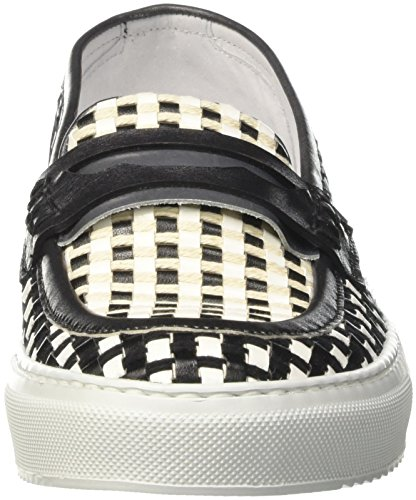 Barracuda Bd0703 - Mocasines Mujer Multicolore (Bianco/Nero)
