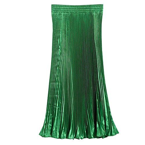Robes BOZEVON Taille Soie en de Pliss Elastique Mousseline Vert Femmes Longue Jupe r6FAS6