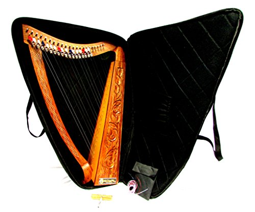 royal-irish-celtic-harp-with-metal-levers-tuner-extra-strings-and-carrying-case
