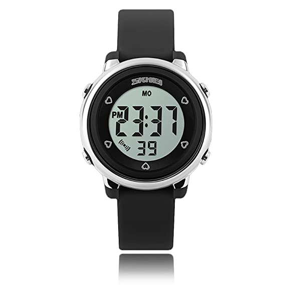 Relojes para niños Reloj deportivo con cronómetro y retroiluminación de 7 LED Función Tiempo Correa de