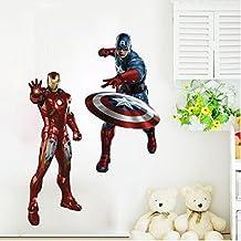 Fangeplus(TM) DIY Removable 3D Captain America Iron Man Avengers Art Mural Vinyl Waterproof Wall Stickers Kids Room Decor Nursery Living Room Decal Sticker Wallpaper27.5''X19.6''