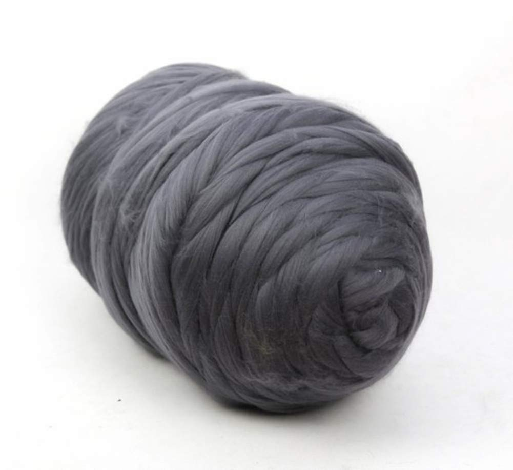 Chunky Yarn Super Bulky Giant Wool Yarn Roving for Arm Knitting Extreme Knitting (4.4lbs(2kg), Dark Grey)