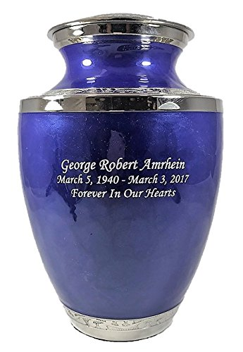 Custom Adult Blue Brass Funeral Cremation Urn with Bag and Personalization