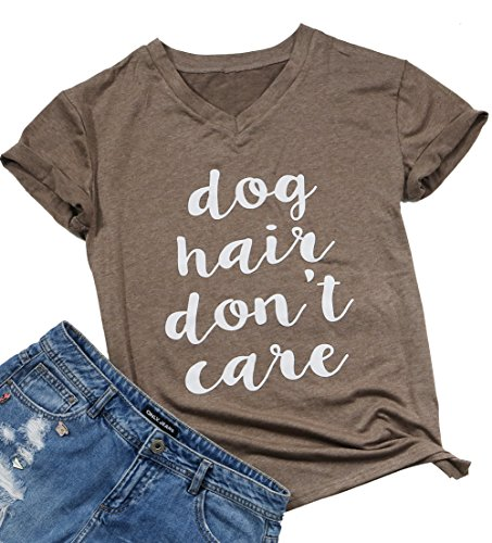 (Womens Dog Hair Don't Care Funny Shirts Summer Short Sleeve T-Shirt Casual Tops Size S)