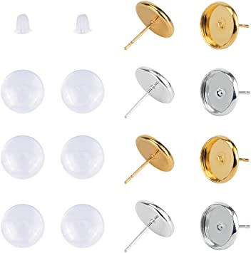 Fit 10mm Cabochons 60Pcs Stainless Steel Stud Earring Cabochon Setting Post Cup Fit for 8mm,60 Pcs Glass Cabochons,80 Pcs Earring Backs
