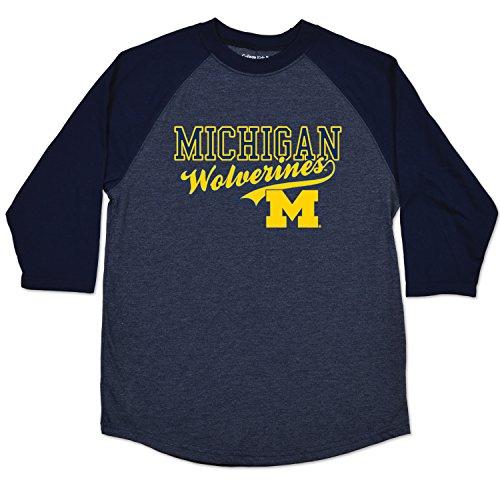 NCAA Michigan Wolverines Youth Home Run Raglan Tee, Size 7/X-Small, Navy