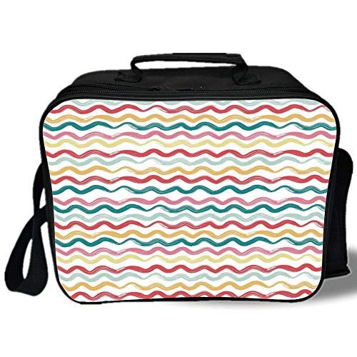 Striped Decor 3D Print Insulated Lunch Bag,Pop Art Parallel Wavy Rough Lines Flush Brush Strokes Shaggy Groovy Boho Decor,for Work/School/Picnic,Multi