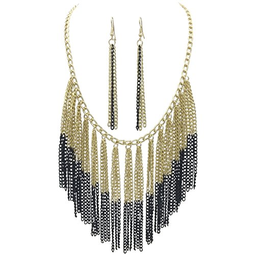 Chain Fringe Earrings - Cascading Chain Tassel Fringe Necklace & Earrings Set (Black & Gold Tone)