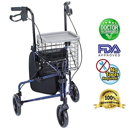 Health Line Lite Folding 3 Wheel Aluminum Rollator Walker Lightweight with Bag and Basket, Flame Blue