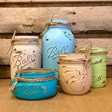 5 Piece Mason Jar Desk Set, Blue, Green and Tan Mason Jars, Mason Jar Bathroom Set, Rustic Office Decor, Coastal Colors Mason Jar Set, Mason Jar Office Organizer, Mason Jar Vanity Set