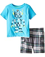 Kids Headquarters Baby Boys' Blue Tee with Plaid Shorts   Robot