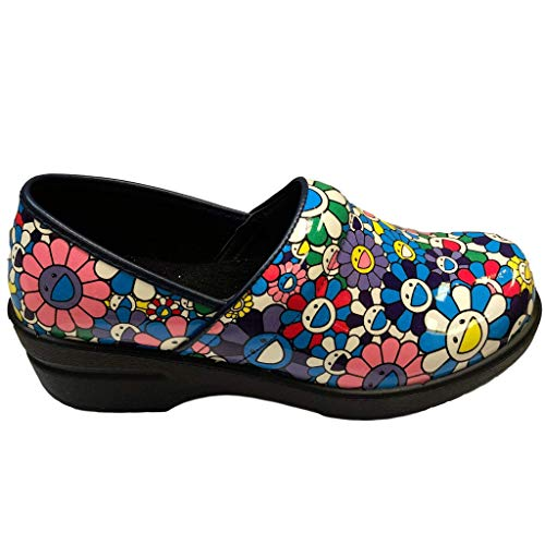 Savvy Women's Slip Resistant Nursing & Professional Slip On Clogs (9.5, Flower Power) ()