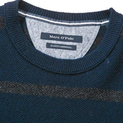 Marc O'Polo Herren Pullover Schurwollmix Sweater Gestreift, Größe: XXL, Farbe: Blau