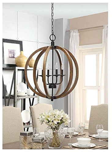 Review Contemporary Metal And Wood Frame Orb Chandelier