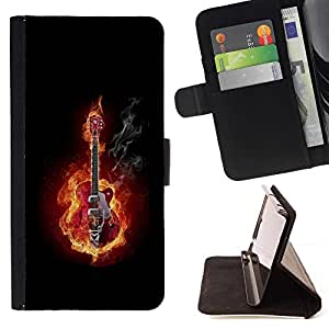 Momo Phone Case / Flip Funda de Cuero Case Cover - GUITARRA EN FUEGO Y HUMO - LG G2 D800