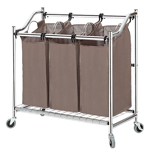 STORAGE MANIAC 3-Section Heavy Duty Laundry Hamper Sorter, Superior Steel Rolling Laundry Cart with Removable Bags, Chrome by STORAGE MANIAC