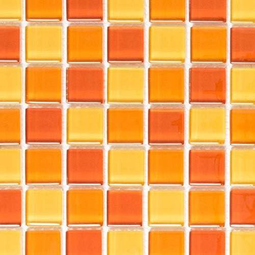 Mosaikfliese Transluzent gelb orange rot Glasmosaik Crystal gelb orange rot MOS72-0802/_m
