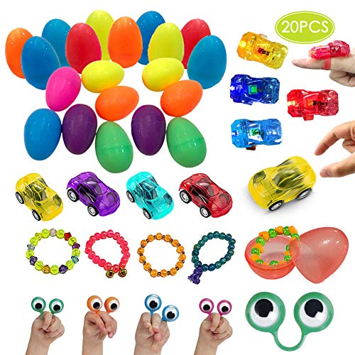 (UNGLINGA Pre Filled Easter Eggs with Toys Inside Plastic Surprise Egg Hut Easter Basket Stuffers for Boys Girls - Pull Back Cars, Eyes Finger Puppet, Light Up Ring, Bead Bracelets)