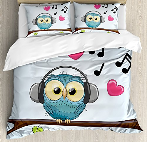 (Music Decor King Size Duvet Cover Set by Ambesonne, Cute Cartoon Owl with Headphones Hearts Leaves Fashion Playful Jolly Fun, Decorative 3 Piece Bedding Set with 2 Pillow Shams)