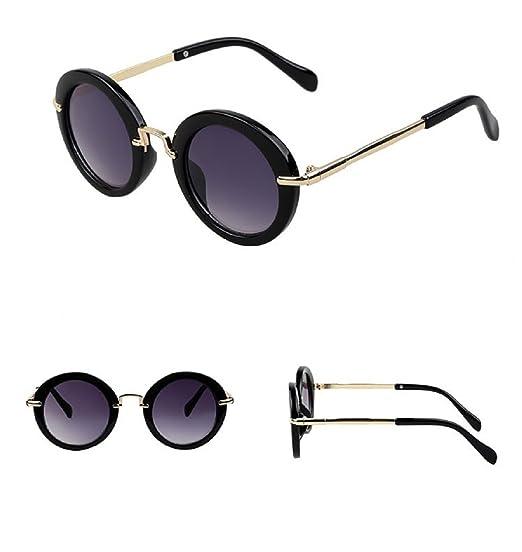 4927f908598b Amazon.com: Fashion Round Kids Sunglasses Children Sun Glasses Anti-uv Baby  Vintage Eyeglasses (Black): Clothing